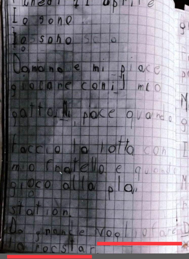 quaderno di damiano maneskin